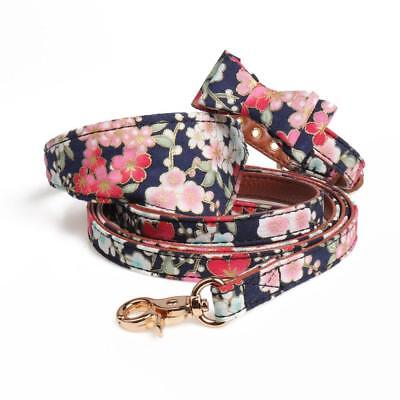 PU Leather Dog Collar Bow Flower Print Small Dog Leash Collar Bandana Outdoor