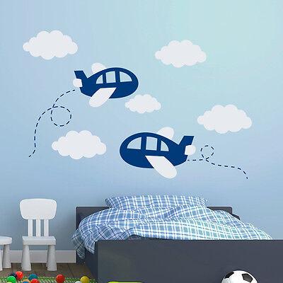 Airplane Wall Decals Plane Decal Clouds Vinyl Nursery Boy Room Decor Art MA300