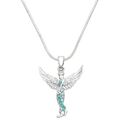 Guardian Angel Charm Pendant Necklace - Sparkling Crystal - 17