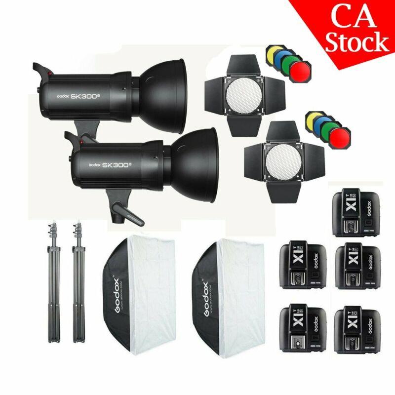 2x Godox SK300II 300W 2.4G Studio Flash Strobe Softbox Stand Light X1T Trigger