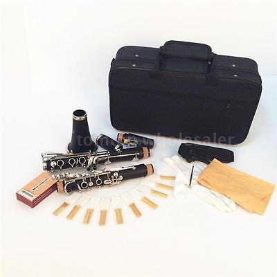 Clarinet Bakelite 17 Key Bb Flat Soprano Nickel with 10 Reeds Screwdriver D3P4