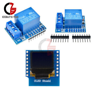 512v Wemos D1 Mini 1ch Relay Shield Wifi 0.66 Inch Oled I2c For Arduino Esp8266