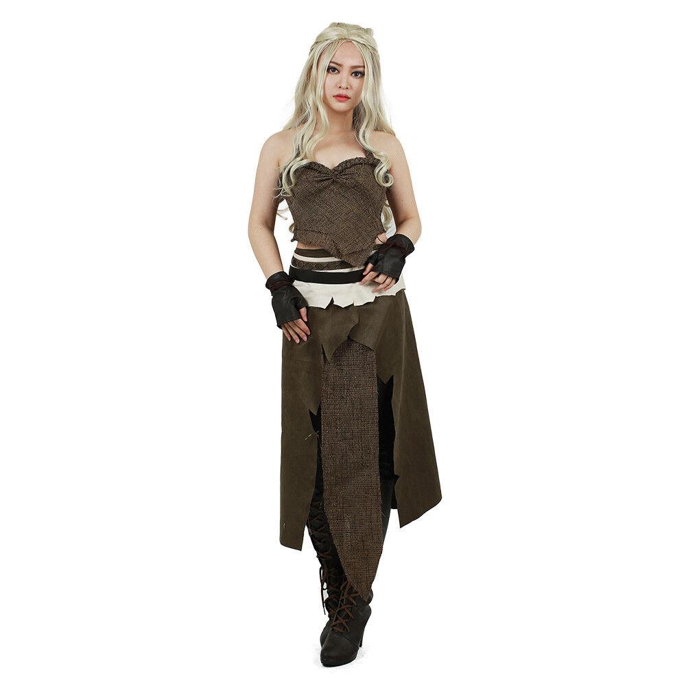 Game of Thrones Daenerys Targaryen Halloween Cosplay Khaleesi Dothraki Costume Clothing, Shoes & Accessories
