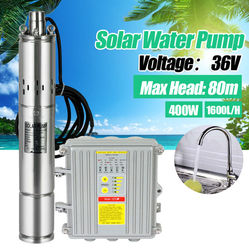 """3"""" Solar Deep Water Well Pump S/Steel 36V Submersible Screw Controller Kits 80m"""