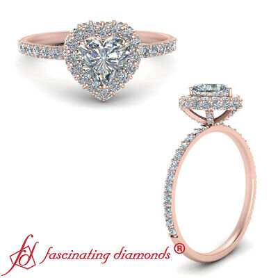 1.25 Carat Heart Shaped Diamond Rollover Engagement Ring For Women In Rose Gold