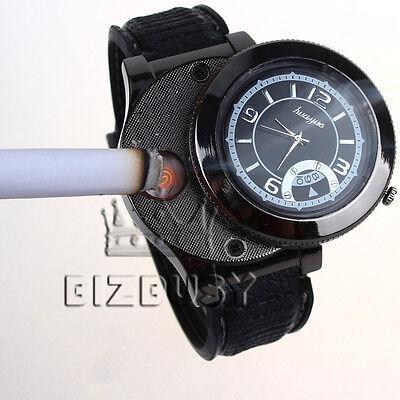 Men Wrist Watch multifunctional Quartz USB Rechargeabl Cigarette Lighter Часы