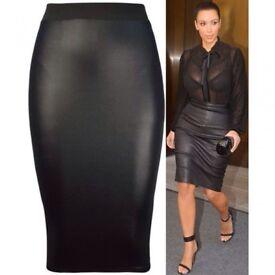 High Waist wet look pencil skirt BNWT 8
