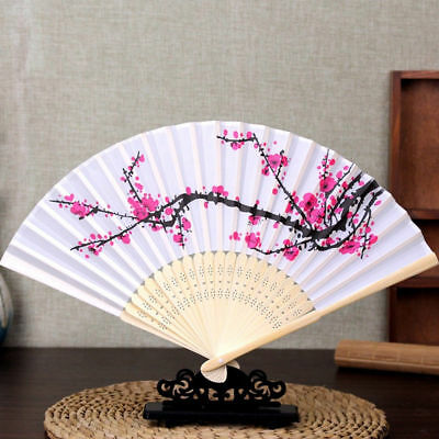 Chino Japonés Plegable Manual Ventilador Seda Plum Blossom Bambú Bolsillo Gifts