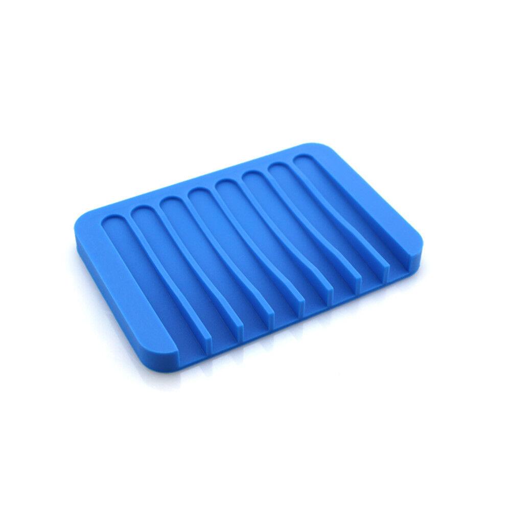 3pcs Rectangle Silicone Soap Dish Holder Plate Bathroom Shower Soapbox Tray