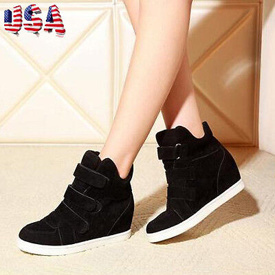 Women Fashion Casual Increased Hidden Wedge Heels Shoes High Top Sneakers  mt