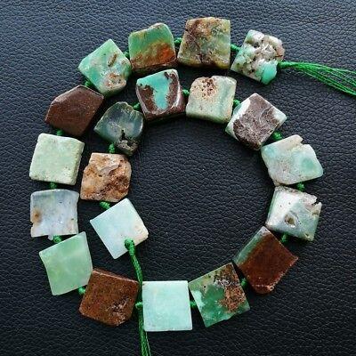 "8SE11148 16mm Natural Chrysoprase square Gemstone Loose Beads 15.5"" Strand"