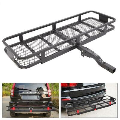 Folding Rack Cargo Basket Trailer Hitch Mount Luggage Carrier for Car SUV 500lbs Folding Hitch Mounted Cargo