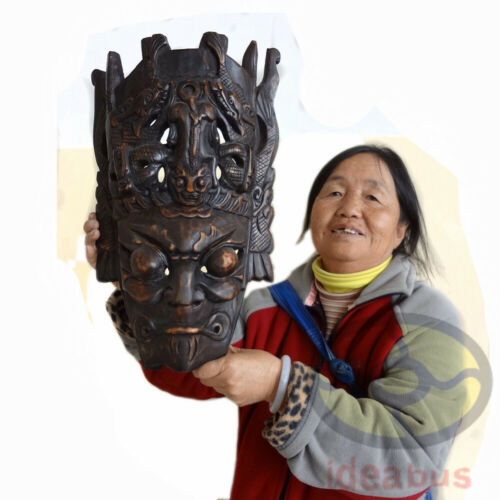 """Chinese Wood Hand Carved Exorcising NUO MASK Walldecor-Divine General tall 16"""""""