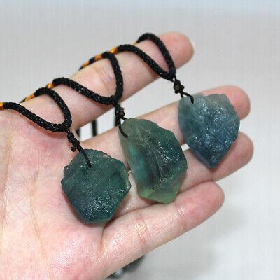 - Natural Green Fluorite Quartz Crystal Pendant Irregular Healing Stone Necklace