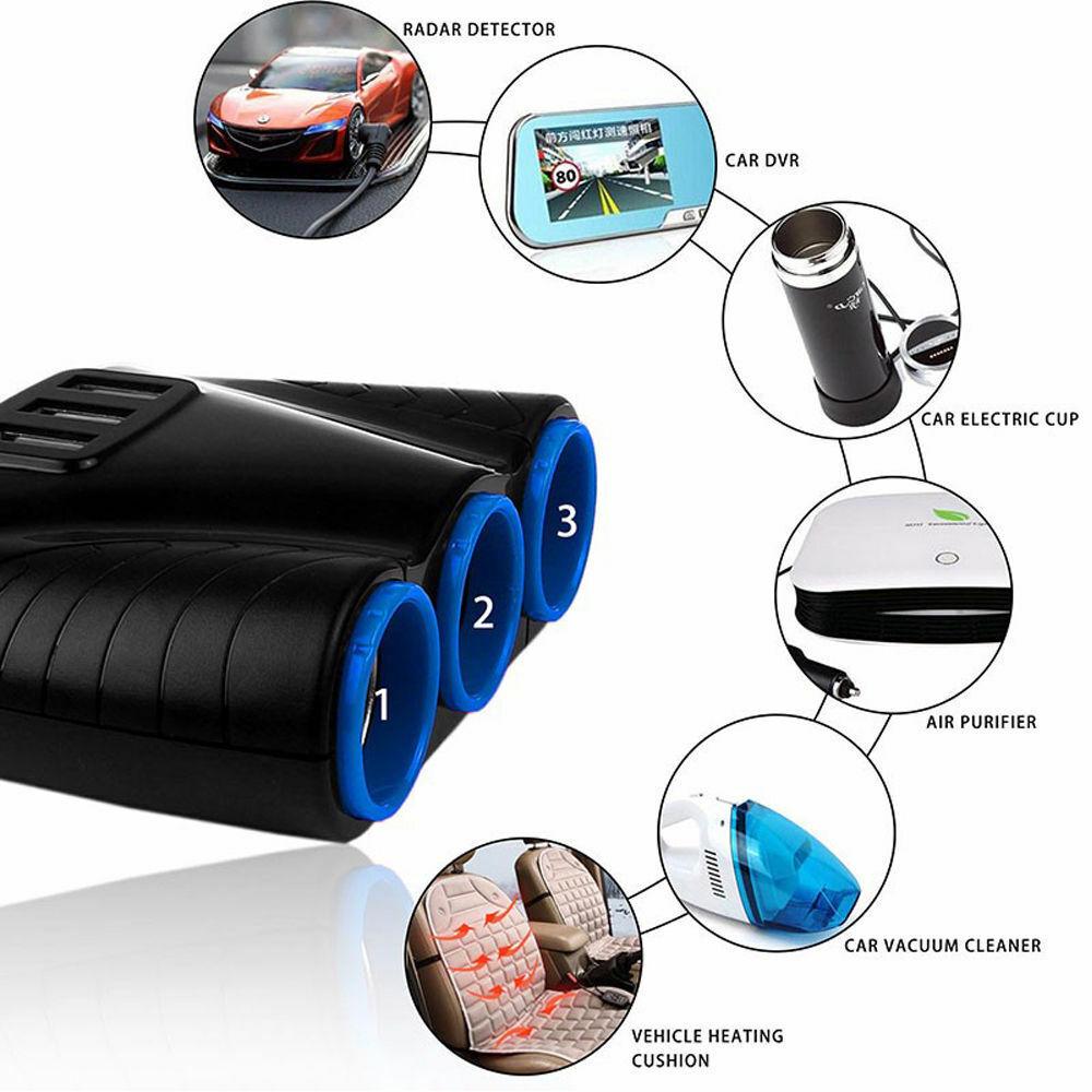 3 way Cigarette Lighter Socket Splitter 12V Three USB Charger Power Adapter Car Car Electronics Accessories