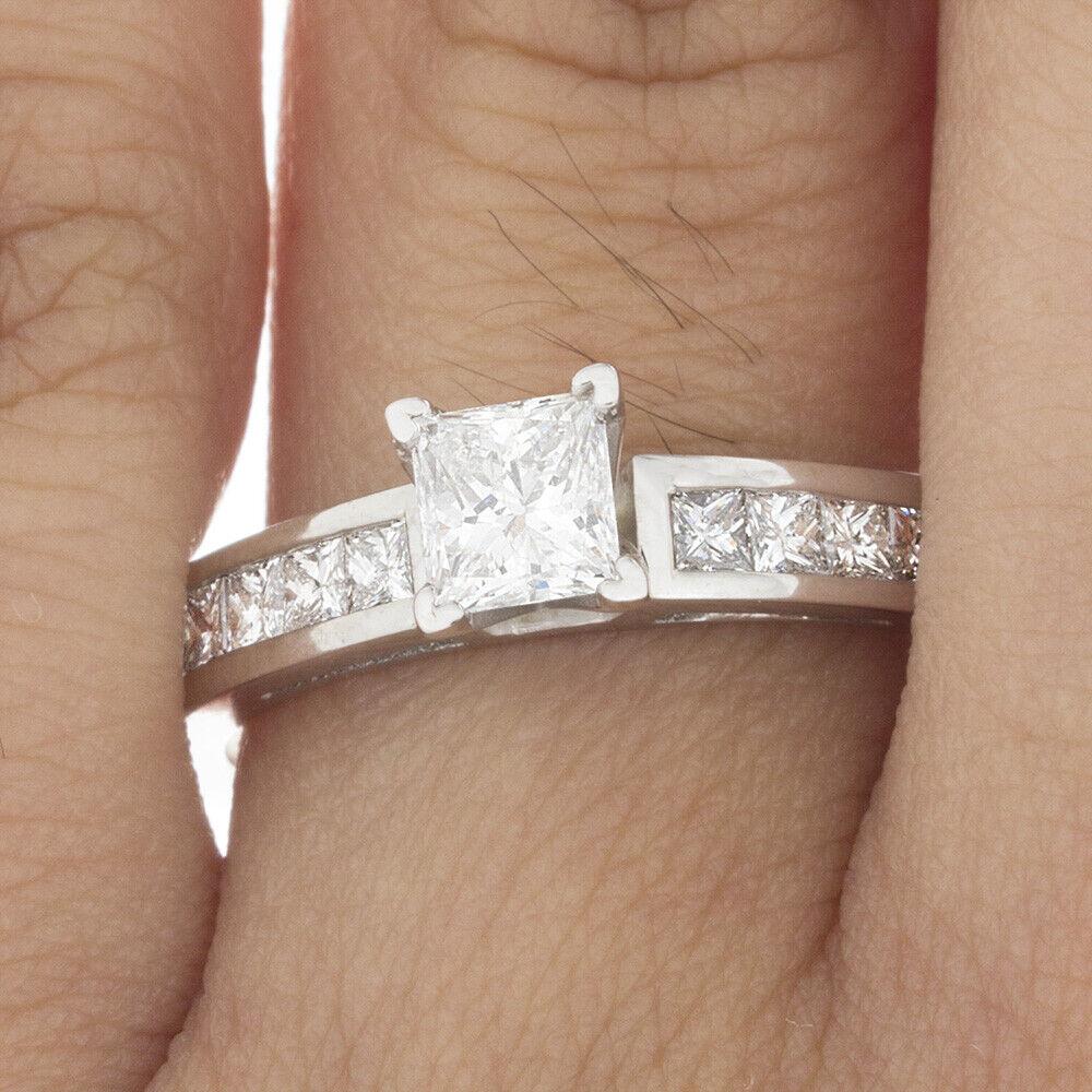 GIA Certified Diamond Engagement Ring 1.20 Carat Princess Cut 18K White Gold