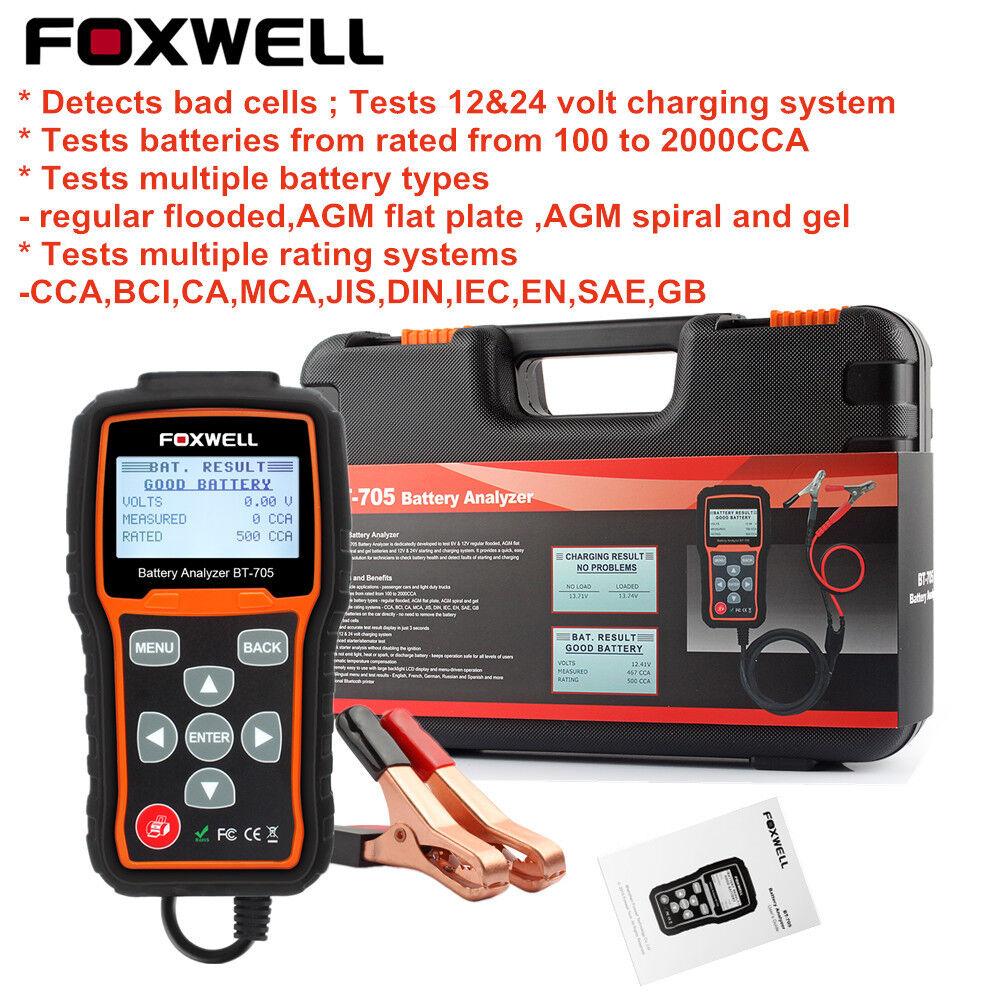12V//24V 100-2000CCA Automotive Battery Load Tester Cranking Charging System Scan