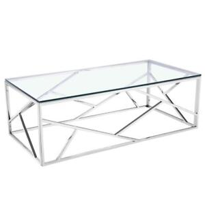 Carole silver finish glass coffee table on sale (XC2000)
