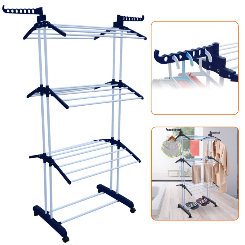 Laundry Drying Rack Clothes Stand Portable Folding Hanger Indoor Dryer Storage