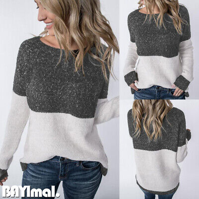 Women Knitted Plain Long Sleeve Sweater Ladies Casual Loose Jumper Pullover Tops