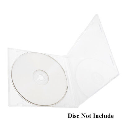 50 Pack Slim 5.2mm Jewel Case Clear Single Cd Dvd Disc Storage Wbuilt-in Tray