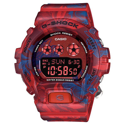 Casio G-Shock Unisex GMDS6900F-4 Digital Multi-Function Red/Blue Floral Watch