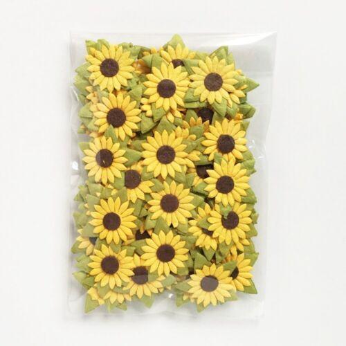 100 Mini Sunflower Mulberry Paper Flowers 18 mm Wedding Card Craft DIY Art Decor