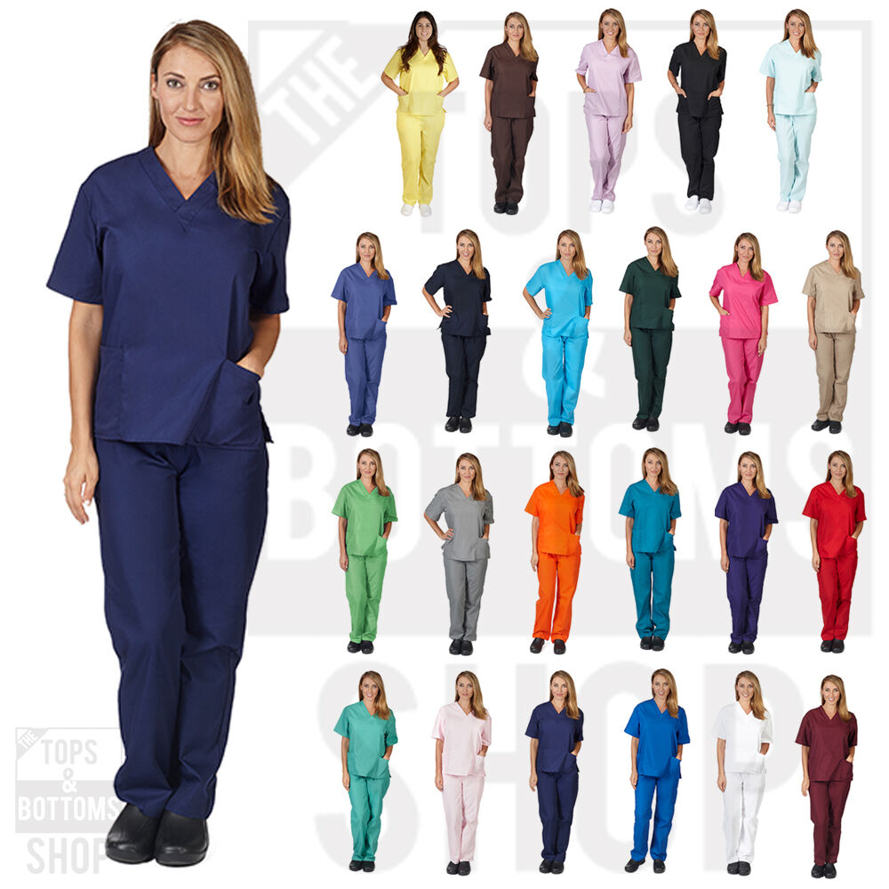 Unisex Men/Women Natural Uniforms Medical Nursing Scrub Set
