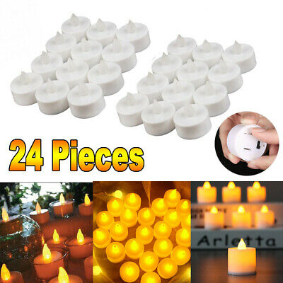 24 PCS Flameless Votive Candles Lamp Battery Operated Flickering LED Tea Light