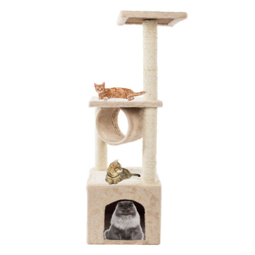 """60""""/52"""" Cat Tree Play House Tower Condo Furniture Scratch Post Toy Bed Pet Kitty"""