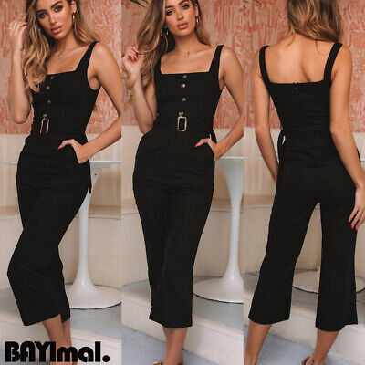 Women Strappy Sleeveless Jumpsuit Ladies Casual Summer Loose Playsuit Size 10-16