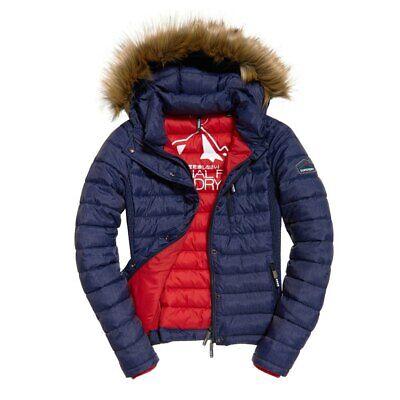 New womens Superdry Fuji Slim Double Zip Hooded winter Jacket medium B