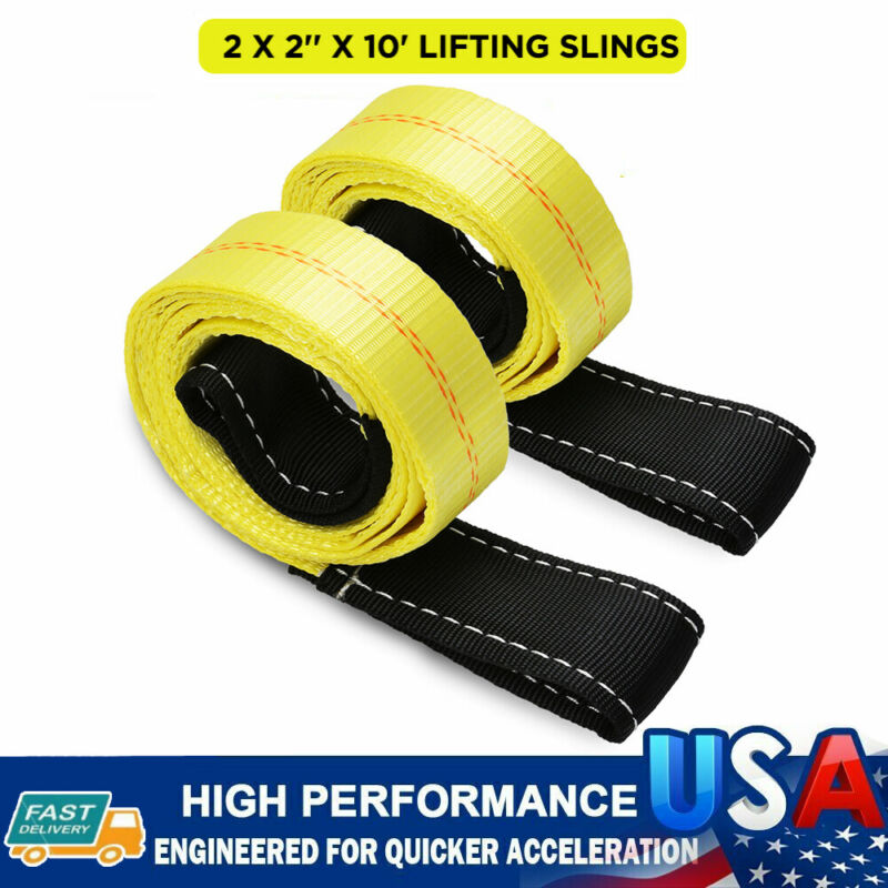 """Two (2x) 2"""" x 10 ft Nylon POLYESTER Web Lifting Sling Tow Strap Hoist Straps NEW"""