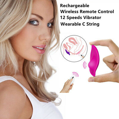 Female 12 Speed Rechargeable Wireless Remote Wearable C-String Vibrator in Panty