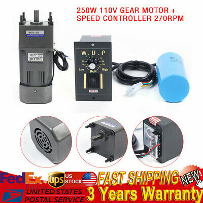 250w Ac 110v Gear Motor Electric Variable Speed Controller 15 270rpm Upgrade