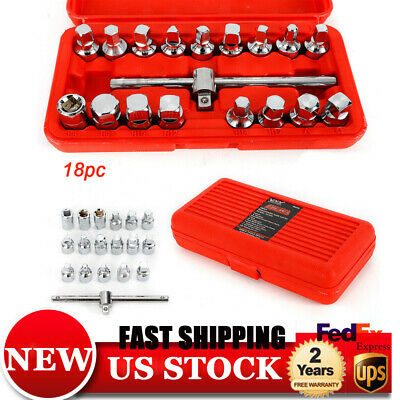 18pc Oil Drain Plug Key Socket Kit Gearbox & Axel Removal Wrench Tool Set -