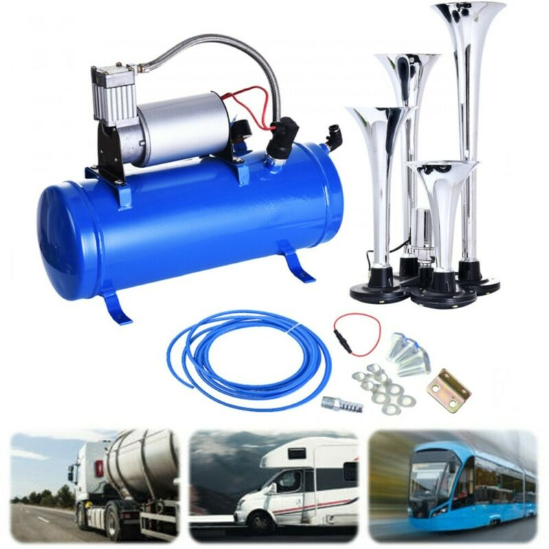 4 Trumpet Air Horn 120PSI Air Compressor 1ft Hose 12V 150dB Train Kit Truck Boat