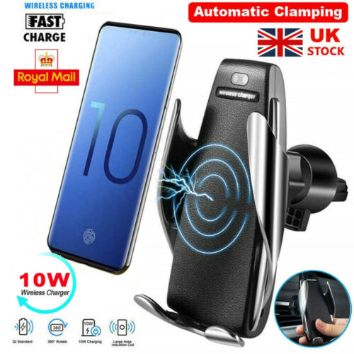 Details about 360° Rotate Wireless Auto Clamping Car Fast Charger Phone Holder Air Vent Mount