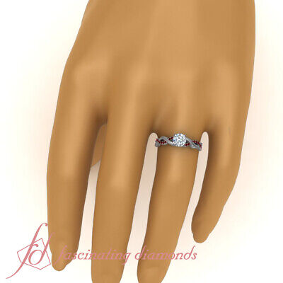 Round Cut Diamond And Ruby Gemstone Vintage Milgrain Engagement Ring 0.85 Carat 4