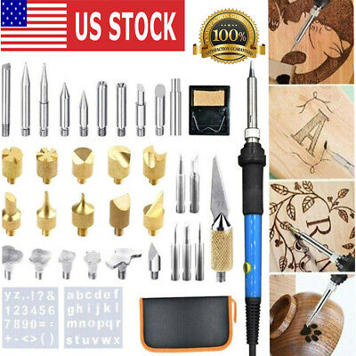 37Pcs 60W Wood Burning Pen Set Stencil Soldering Tips Tools Pyrography Craft Kit