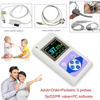24hr Finger Pulse Oximeter Blood Oxygen Monitor Spo2 Pr 3 Probes Adult Pediatric