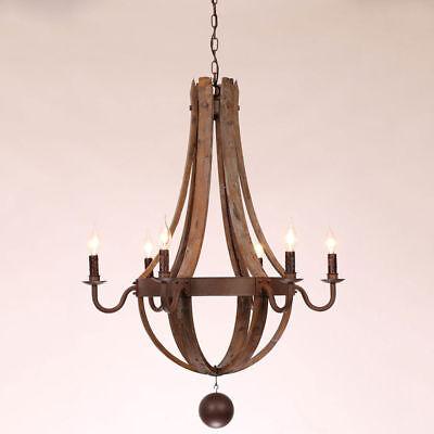 Rustic 5/6 Light Wine Barrel Wood&Rust Metal Candelabra Chandelier Hamging Lamp