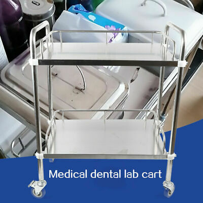 Portable 2-layer Serving Lab Cart Trolley Stainless Steel Mobile Rolling Cart