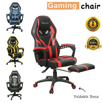 Gaming Chair Racing Ergonomic Recliner Office Computer Desk Seat Swivel Footrest