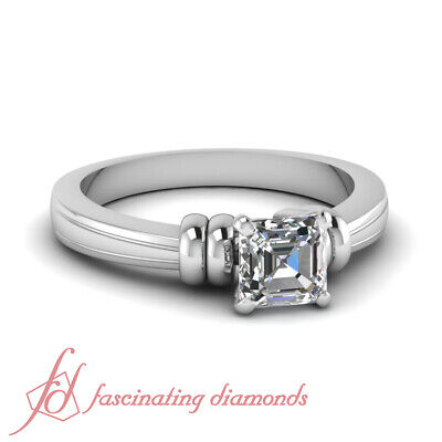 1/2 Ct Natural Asscher Cut Bow Style Solitaire Diamond Rings Engagement 14K GIA