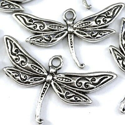 15 Silver Pewter Dragonfly Charm Pendant 16x30mm ~ Lead-Free ~