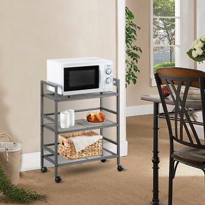 3 Tier Kitchen Storage Cart Microwave Oven Rack Utility Workstation Stand Grey