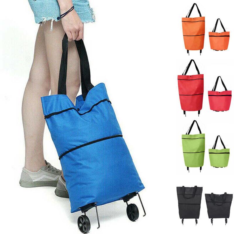 Foldable Shopping Bag Trolley Oxford Cart On Wheel Handbag Eco Friendly Reusable General Household Supplies