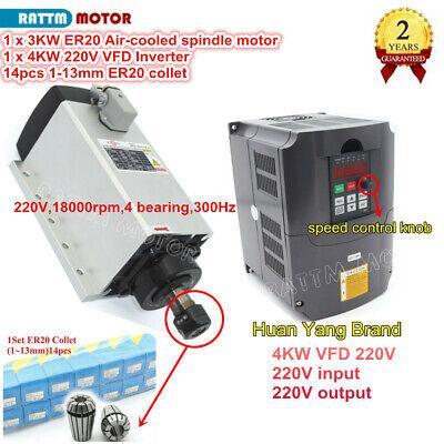 4kw Inverter3kw Er20 220v Spindle Motor Air Cooled Milling Spindle Vfd Cnc Kit