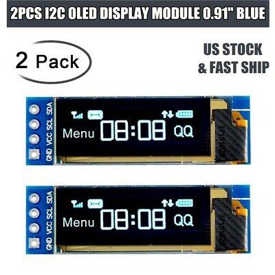 2pcs 0.91 Iic I2c Oled Lcd Display Module Screen Dc 3.3v 5v For Pic Arduino Us